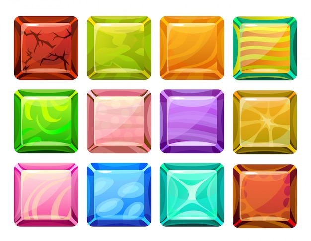 Cartoon square buttons set