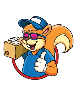 Cartoon of squirrel courier mascot character