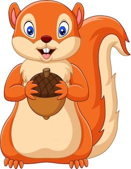 Cartoon squirrel holding nut