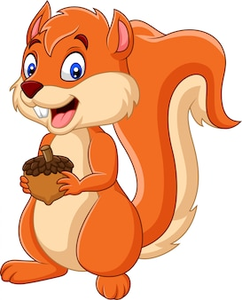 Cartoon squirrel holding nut