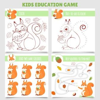 Мультяшные белки детские игры. найдите две одинаковые картинки, лабиринт с белкой и орехом, раскраску и точку за точкой