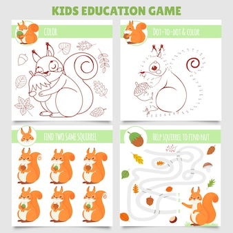 Cartoon squirrel kids games. find two same pictures, squirrel and nut maze, coloring game and dot to dot
