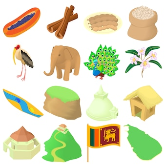 Cartoon sri lanka icons set