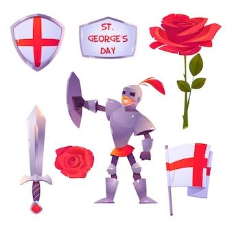 Cartoon st. collezione di elementi del giorno di george