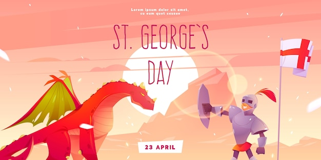 Cartoon st. george's day horizontal banner