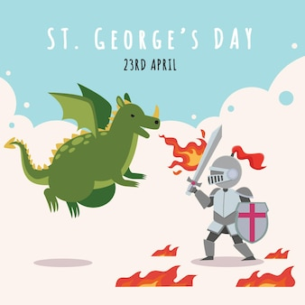 Cartoon st. george's day illustration with dragon and knight