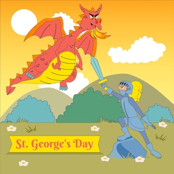 Cartoon st. illustrazione del giorno di george con drago e cavaliere