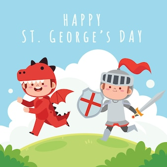 Cartoon st. george's day illustration with knight and dragon