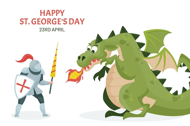 Cartoon st. illustrazione del giorno di george con cavaliere e drago