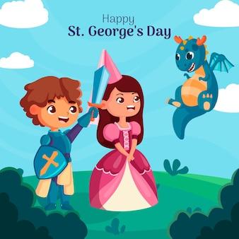 Cartoon st. illustrazione del giorno di george con cavaliere e principessa