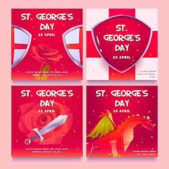 Cartoon st. george's day instagram posts collection