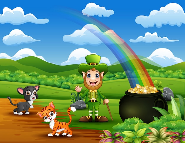 Cartoon st patrick day leprechauns celebrate with a pet