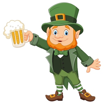 Cartoon st patrick's day, leprechaun with mug beer