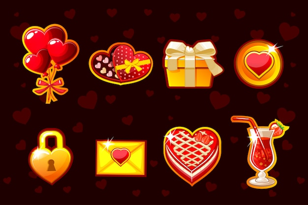 Cartoon st. valentine lucky roulette, spinning fortune wheel. holiday icons and symbols. game assets
