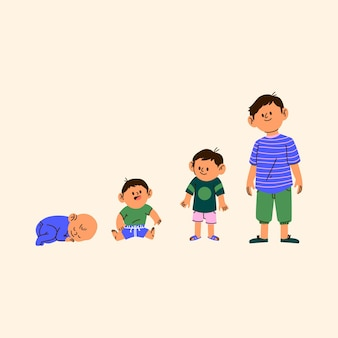 Cartoon stages of a baby boy illustration