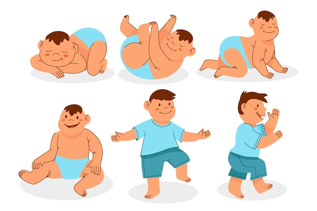 Cartoon stages of a baby boy