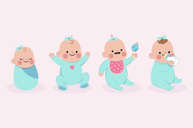 Cartoon stages of a baby girl