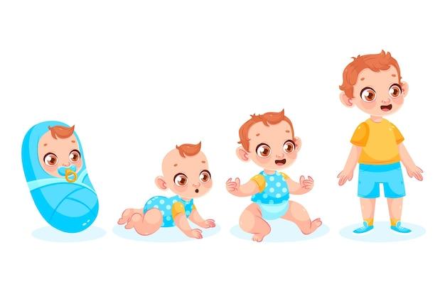 Этапы мультфильма мальчика иллюстрации