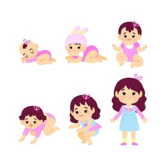 女の赤ちゃんの漫画のステージ