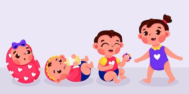 女の赤ちゃんの漫画の段階