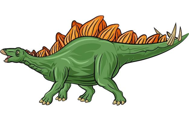 白い背景上に漫画ステゴサウルス