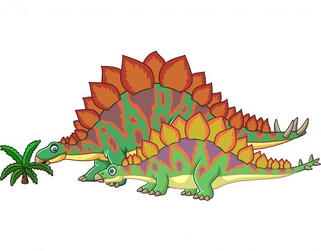 Мультяшный стегозавр с ребенком