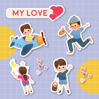 Cartoon sticker with children's day concept design