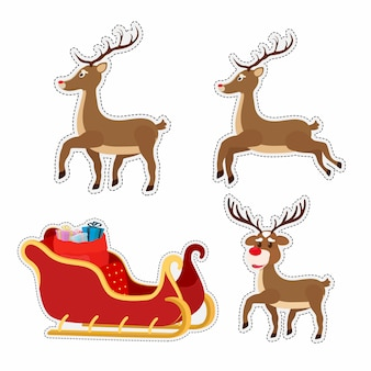 Cartoon stickers with sleigh