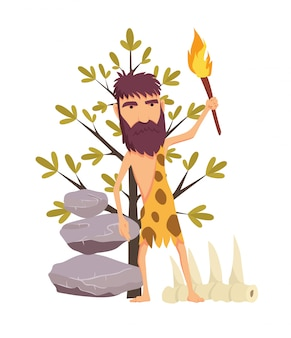 Cartoon stone age man with torch