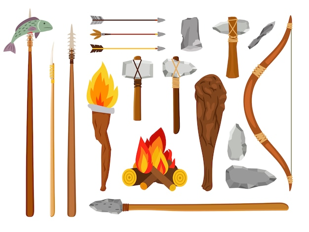Cartoon stone age tools