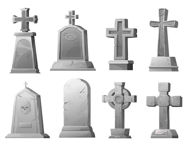만화 돌 무덤 십자가와 묘비, 벡터 묘지 금이 간 묘지 묘비. 두개골, 흰색 배경에 고립 된 장례 건축 디자인 요소 세트와 고대 영묘 무덤
