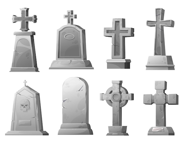 Cartoon stone grave crosses and gravestones, vector cemetery cracked graveyard tombstones. ancient mausoleum tomb with skull, funereal architecture design elements set isolated on white background