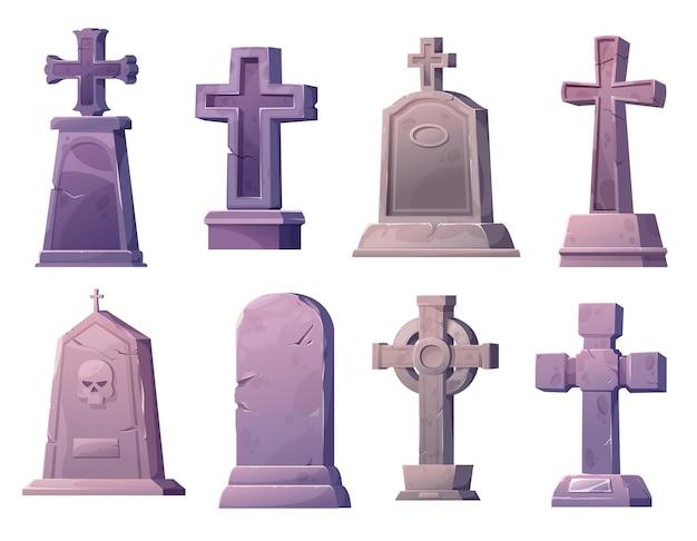 Cartoon stone grave crosses and gravestones