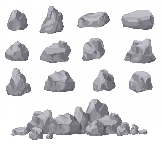 Cartoon stones. rock stone isometric set. granite boulders, natural building block shapes. 3d decoration isolated vector collection