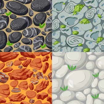 Cartoon stones seamless patterns set with plants and rocks of different shapes colors and materials