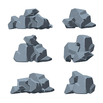 만화 돌 세트. 돌 바위, 돌맹이 돌, 자연 돌 요소 그림
