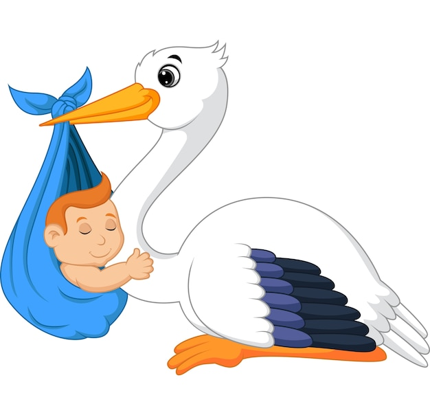 Cartoon stork carrying cute baby