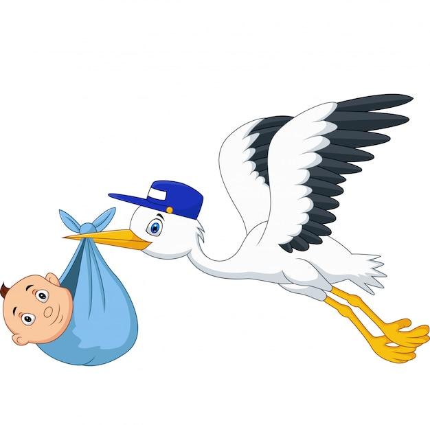Cartoon stork flying bird carrying a newborn