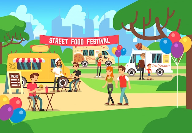 Cartoon street food festival with people and trucks vector background
