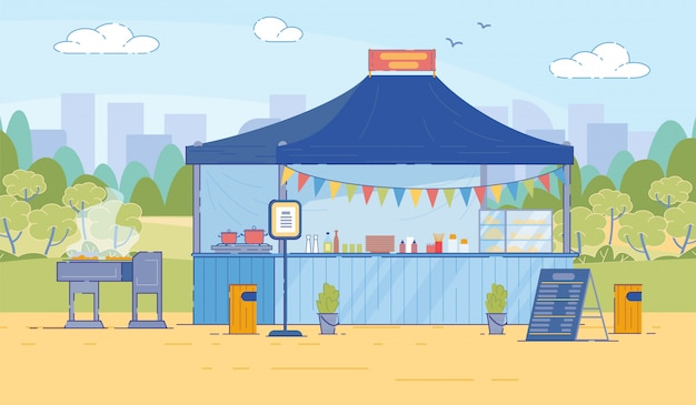 Cartoon street food tent with menu in flat style