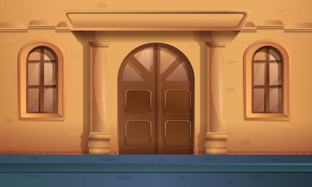 Cartoon street with an entrance to a beautiful old house, vector illustration