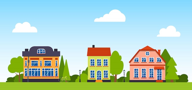 Cartoon street with houses panoramic horizontal illustration.