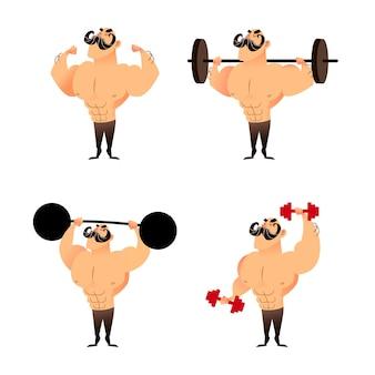 Набор мультфильм сильных мускулистых бодибилдеров
