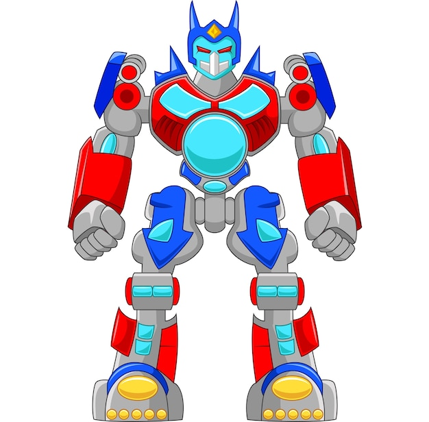 Cartoon strong robot and colorful