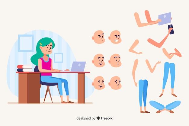 モーションデザインのための漫画の学生キャラクター