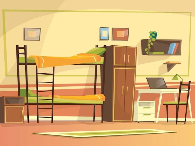 Cartoon student dormitory room interior background template.