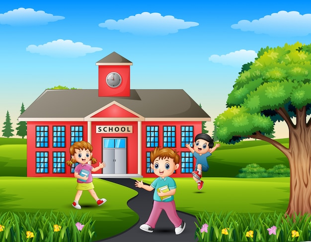 Cartoon of student going home from school