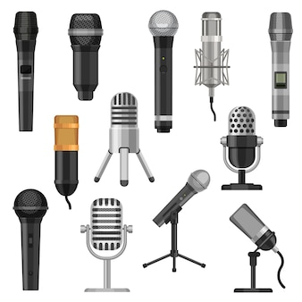 Cartoon studio microphones. broadcast, voice and music audio recording equipment. karaoke mic and vintage radio microphone flat vector set. illustration sound mic audio, studio voice microphone