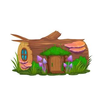그놈, 마법사 또는 엘프, 벡터 난쟁이 집의 만화 그루터기 집. 숲 나무 그루터기에 버섯이 있는 동화 요정 또는 요정 집, 동화 속 난쟁이 또는 그놈 환상 오두막 오두막