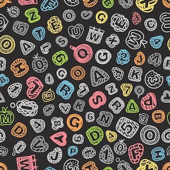 Мультяшный стиль алфавит вектор бесшовные модели. бесшовный фон с комиксами